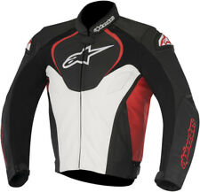 Alpinestars Mens Black/White/Red Jaws Leather Motorcycle Sport Riding Jacket