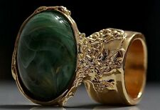GREEN MARBLE SWIRL STATEMENT KNUCKLE ART RING GOLD WOMEN VINTAGE ARTY CHUNKY