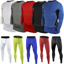 Mens Compression Under Baselayer Tight Top T-Shirts Undershirt Skin Bottom Pants