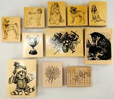 NEW NWT Wood Mounted Rubber Stamp Dogs Flower Bear Cup Scrapbooking Cards Crafts