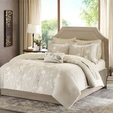 Taupe Complete Comforter Set With Sheet Set,Decorative Pillow, Shams & Skirt