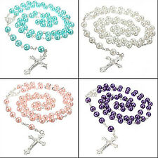 WOMEN LONG ROSARY CHAIN IMITATE PEARL BALL BEADS CROSS DROP NECKLACE COMFY