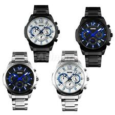 Mens Stainless Steel Metal Band Analog Quartz Sport Waterproof Wrist Watch Gift