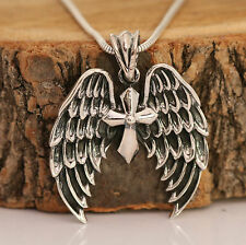 925 Sterling Silver Angel Wings Cross Pendant With Snake Chain Necklace Boxed