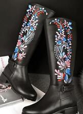 Women's knee high boots buckle flower embroidered leather shoes side zipper Size