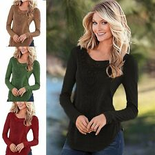 Womens Casual Loose Blouse Lace Patchwork Long Sleeve Tops Shirt T-Shirt Bodycon