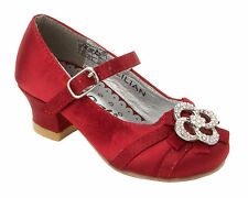 GIRLS RED SATIN DIAMANTE BRIDESMAID PARTY WEDDING FORMAL SANDALS SHOES SIZE 6-3