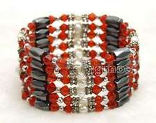 SALE 4-5mm White Natural Pearl and Red Crystal & Hematite 36'' Bracelet-bra358