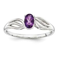 Ladies 925 Sterling Silver Amethyst February Birthstone Promise Ring Size 5 - 10