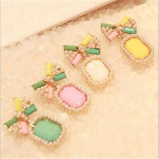 Color Stud Earring Gem Bow 1Pair Elegant Fashion Stud Pearl Earrings Candy