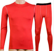 Mens Base Layer Compression Athletic Under Skin Sports Top Shirts & Long Pants