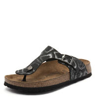 New Papillio by Birkenstock Gizeh Embossed Python Black Women Shoes Flats