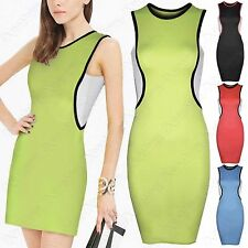 NEW WOMENS LADIES CONTRAST BODYCON DRESSES SLIMMING LOOK BLACK VEST TOPS DRESS