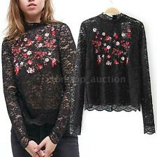 Summer Elegant Long Sleeves Black Lace Embroidery Floral Blouse Tops New M8C7