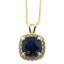 14k Yellow/White Gold Simulated Blue Sapphire & CZ 9mm Cushion Cut Halo Necklace