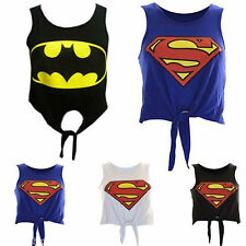 New Womens Ladies Comic Bat/Super Hero Logo Print Tie Up Crop Vest Tops UK 8-14