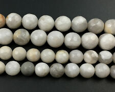 Natural Gemstone White Crazy Agate Faceted Beads Round Loose Beads 8mm 10mm 15''