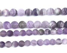 Natural Gemstone Amethyst Matte Beads Purple Loose Beads Round 6mm 8mm 10mm 12mm
