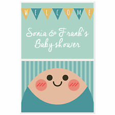 Oh Baby (Boy) Welcome Sign for Baby Shower – Personalized Poster