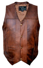 New mens Retro Brown 10 Pocket Concealed Carry Buffalo Hide Leather Vest