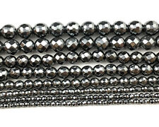 Natural Gemstone Black Hematite Faceted Beads Round Spacer Beads 2,3,4,6,8,10mm