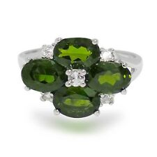 Natural Chrome diopside 7x5 mm Oval cut & White topaz 0.925 Sterling Silver Ring