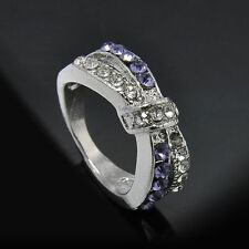 Amethyst Crystal Criss Cross 6-10 Size Ring White Gold Filled Jewelry Rings