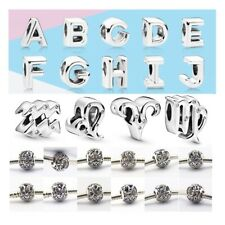 Authentic S925 Sterling Silver Charm Alphabet Letter Fit European Bracelet