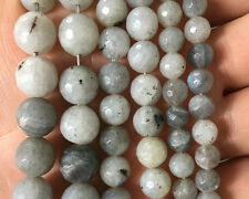 Natural Gemstone White Labradorite Faceted Beads Round Stone Beads 6mm 8mm 10mm