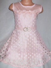 GIRLS PASTEL PINK LACE DIAMONTE ROSETTE TRIM OCCASION PRINCESS PROM PARTY DRESS