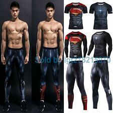 3D Superhero Mens Compression T-shirts Pants Sweatpants Gym Sport Jersey Cosplay