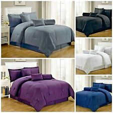 7 Piece Comforter Set Bed In A Bag Full Queen California King Hotel Dobby Stripe
