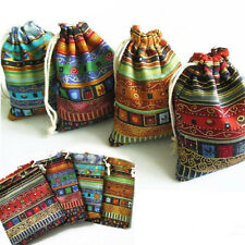 3Pcs 9.5x12cm Linen Bunt Tribal Drawstring Jewellery Gift Bags Pouches jx