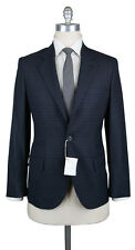 New $3995 Cucinelli Midnight Navy Blue Wool Check Suit - (BC4517002)