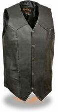 Milwaukee Leather Mens Classic Snap Front Biker Vest-Tall Black