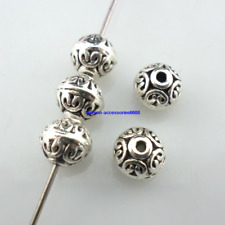 20/40pcs Tibetan Silver Round Charm Loose Spacer Beads Jewelry Findings 6x7mm