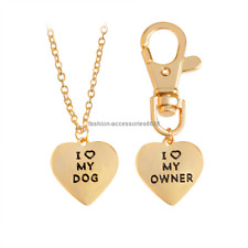 Fashion I Love My Dog Owner Lovers Pet Dog Pendant Heart Necklace Keycain Chain