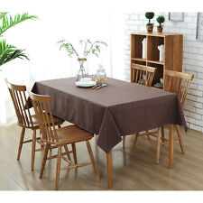 Solid Color Cotton Linen Tablecloth Waterproof Dining Table Cover Rectangular