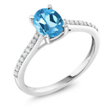 10K White Gold Diamond Accent Engagement Ring Oval Swiss Blue Topaz 1.50 ct