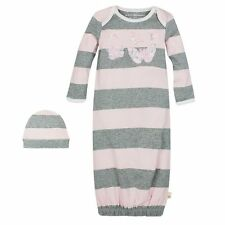 NWT Burt's Bees Baby Infant Girls Outfit Organic Coverall Gown & Hat Set 3M 6M