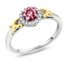 10K Two-Tone Gold Ring with Accent Diamonds Natural Pink Topaz Cut by Swarovski