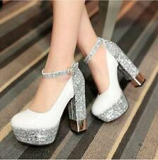 Chic Womens Sequins Party Wedding Platform High BlocK Heels Ankle Strap Shoes SZ