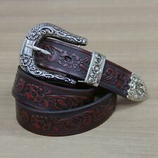 Men Cowhide Genuine Leather Fashion Vintage British Belt Embossed Waist Strap
