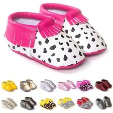 Cute PU Leather Soft Sole Tassel Kid Shoes Baby Boy Girl Toddler Moccasin 0-18M
