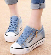 Fashionable Girls Lace Up Sneakers Platform Wedge Heels Denim Oxford Shoes