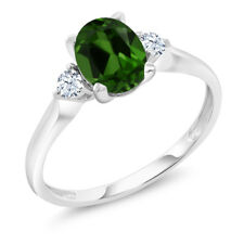 10K White Gold 1.30 Ct Green Chrome Diopside White Created Sapphire 3-Stone Ring