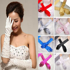 Long Satin Gloves Wedding Bridal Evening Party Opera Formal Prom Gloves Stretch