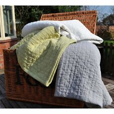 Chester stonewashed pure cotton bedspread, pilowsham, cushion cover  silver grey