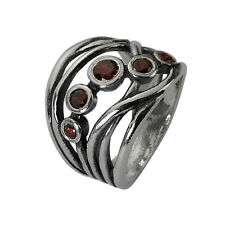 Unique Sterling Silver 925 Ring journy Ring garnet CZ Red Ring For Women