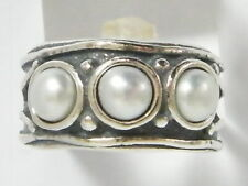 Fine 925 Sterling Silver Three-Stone Ring Fresh Water Pearl White Ring